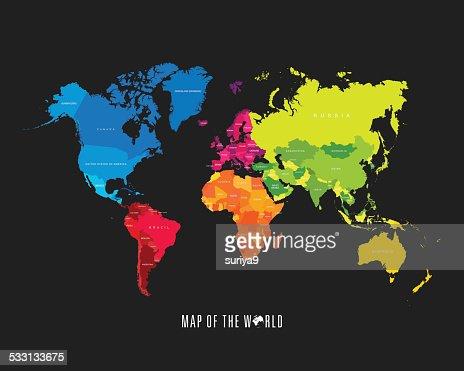 Weltkarte mit verschiedenfarbigen Kontinenten-Illustration : Vektorgrafik