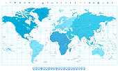 World map with different colored continents in colors of blue and navigation icon set