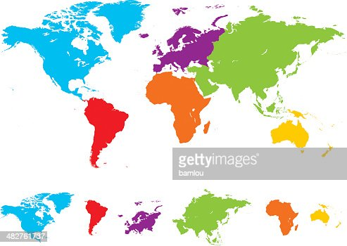World Map With Colored Continents Timekeeperwatches - World map with continents