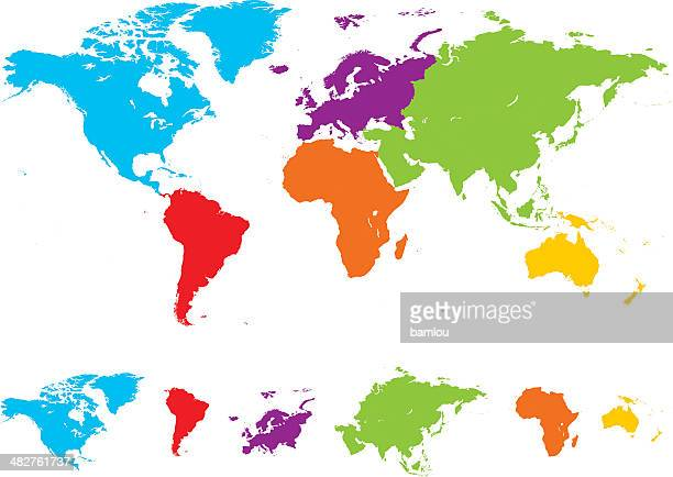 World map with different colored continents