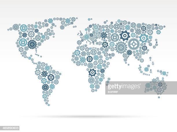 Mappa del mondo con ingranaggi