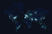 World map with global technology and telecommunication network. Vector illustration