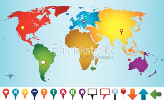 World Map Gps.World Map With Gps Icons Vector Art Thinkstock