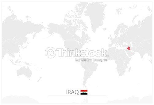 World Map With Identification Of Iraq Vector Art | Thinkstock