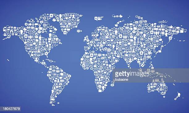 World Map with Internet & Communication royalty free vector arts