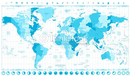 World Map With Standard Time Zones Vector Art | Thinkstock on