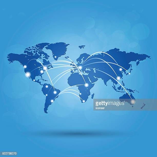 World map with white lights connected on blue marine background