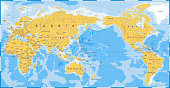 World Map Yellow Blue - Asia in Center- vector