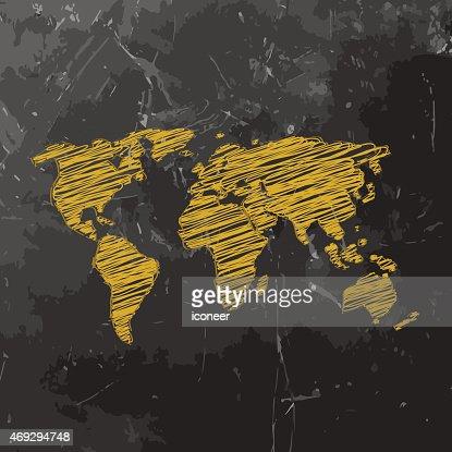 Weltkarte gelbe skizzierte auf dunkle tafel hintergrund for Gelbe tafel