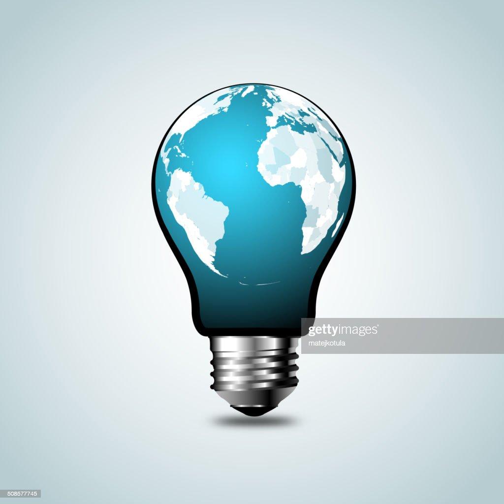World Map,World atlas in tungsten light bulb : Vector Art