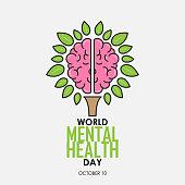 World Mental Health Day background. Brain concept. Vector illustration.