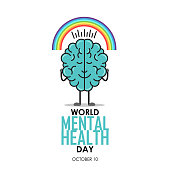 World Mental Health Day background. Brain concept. Positive thoughts. Vector illustration.
