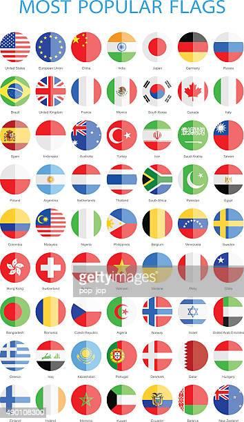 Plus célèbre du monde à drapeaux ronds-Illustration