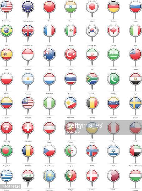 Monde plus populaires partie drapeau Pins-Illustration