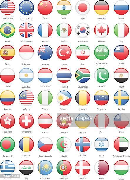 Plus populaires au monde drapeaux ronds-Illustration