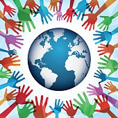 Illustration vector of a colorful hands around the world.