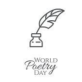 World poetry day banner with outline inkwell and feather in it isolated on white background - concept for congratulation card or poster. Thin line art vector illustration.