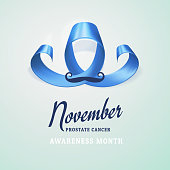World Prostate Cancer Day concept. Prostate cancer awareness blue symbol, ribbon in the shape of mustache isolated on blue background. Men healthcare concept. Vector illustration.