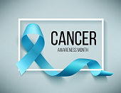 Realistic blue ribbon, world prostate cancer day symbol in november, vector illustration. Poster for canser awareness month.