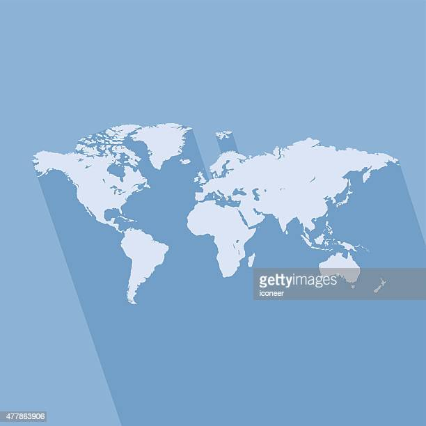 World simple blue map on blue background