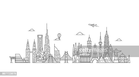 World skyline. Illustations in outline style : Vector Art