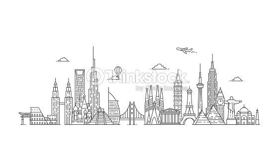 World skyline. Illustations in outline style : stock vector