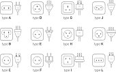 Electric outlet illustration on white background. Different type power socket set, vector isolated icon illustration for different country plugs. Power socket - World standards icons set.