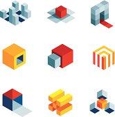 3D world startup idea creative virtual company element logo icons.