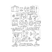 World Travel. Hand drawn. Planning summer vacations. Summer holiday, journey, traveling set of icons. Tourism and vacation theme. Flat design vector illustration.