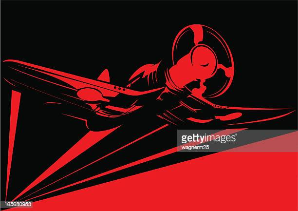 World War II red plane stencil