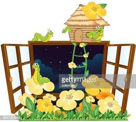 Worms, bird house and window : Vector Art