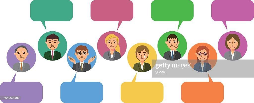 Worried business people withs Speech Bubbles  Vector Art