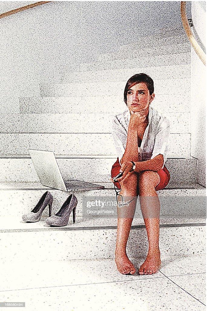 Worried Businesswoman : Vector Art