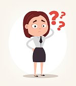 Worry confused office worker business woman character thinking. Vector flat cartoon illustration