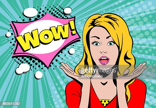 Wow blond girl face with speech bubble : stock vector