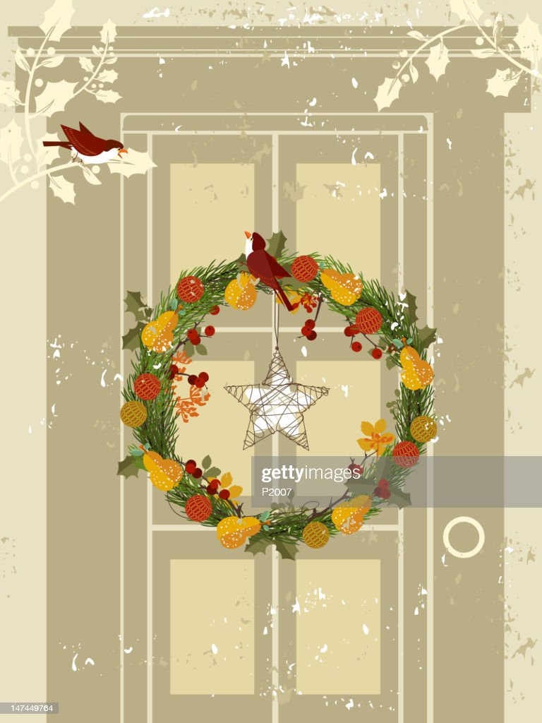 Wreath on Door : Vektorgrafik