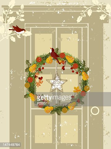Wreath on Door : Vector Art