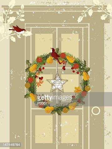 Couronne florale sur la porte : Clipart vectoriel