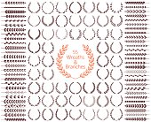 Wreaths and branches set. Vector illustration.