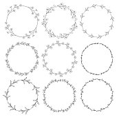 Set of 9 Black Hand Drawn Decorative Outlined Wreaths, Branches, Laurels with Herbs, Plants and Flowers, Florals. Vector Illustration