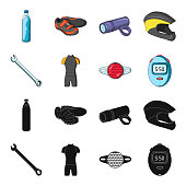 A wrench, a bicyclist's bone, a reflector, a timer.Cyclist outfit set collection icons in black,cartoon style vector symbol stock illustration .