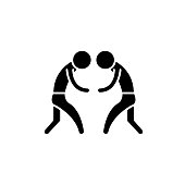 Wrestling black icon, concept vector sign on isolated background. Wrestling illustration, symbol