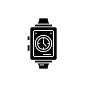 Wrist watch black icon, concept vector sign on isolated background. Wrist watch illustration, symbol