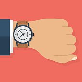 Wristwatch on the hand of businessman in suit. Time on wrist watch. Man with clock. Man checks time on clock. Time control. Hand with clock isolated on background. Flat design, vector illustration.
