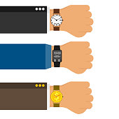 Wristwatch on the hand of businessman in suit. Three horizontal hands with classic wrist watches, sports watches and in the form of a golden coin. Vector illustration.
