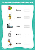 Write the correct word the jumbled letters,illustration, vector