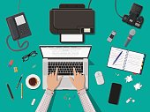 Writer or journalist workplace. Laptop pc, smartphone, mouse. Paper sheets with text, pen. Printer, recorder, coffee. Eyeglasses phone microphone, photo camera Vector illustration in flat style