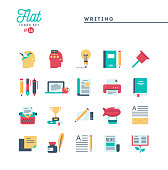 Writing, blogging, best seller book, storytelling and more, flat icons set, vector illustration