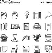 Writing, blogging, best seller book, storytelling and more, thin line icons set, vector illustration