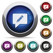 writing comment icons in round glossy buttons with steel frames